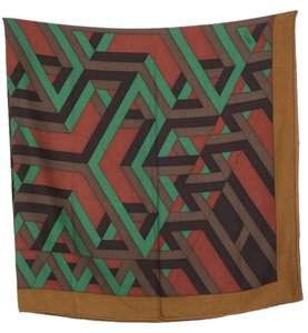 Hermès Hermes brown and multicolor 'Carre Cube' motif 140cm shawl scarf