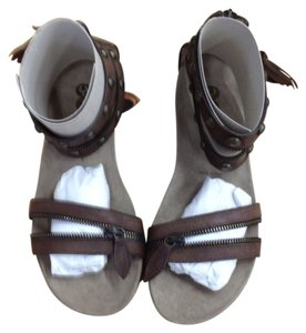 Yin Leather Studded Festival Brown Sandals