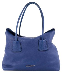 Burberry Leather Tote in Blue