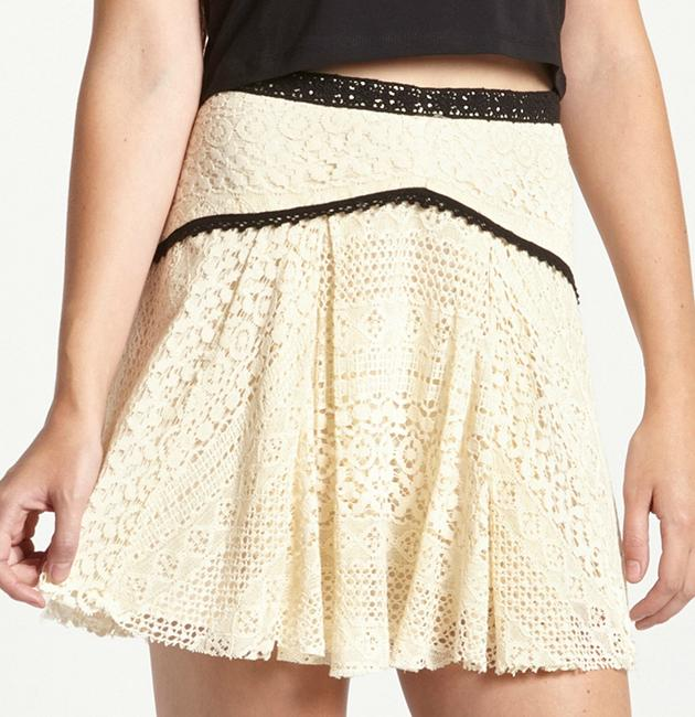 Free People Crochet Mini Skirt off white