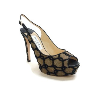 Jimmy Choo Lace Fishnet Sexy Black / Nude Platforms