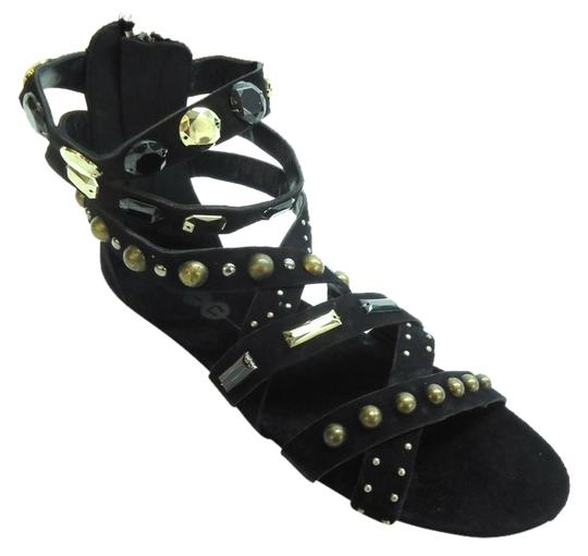 Yin Suede Embellished Festival Black Sandals