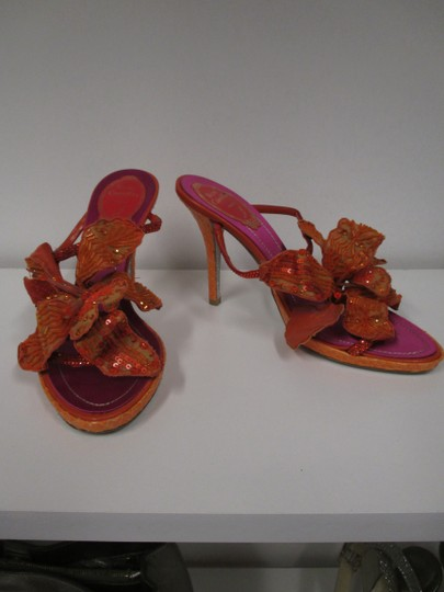 Rene Caovilla Flower Sparkle Orange Sandals