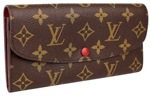 Louis Vuitton Auth LV Emillie Red Wallet with LV Box
