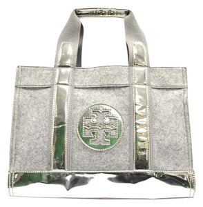 Tory Burch Double Handle Tote in Grey & Silver