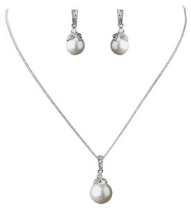 Elegance by Carbonneau Silver Pearl Light Ivory Cz Pendant Jewelry Set