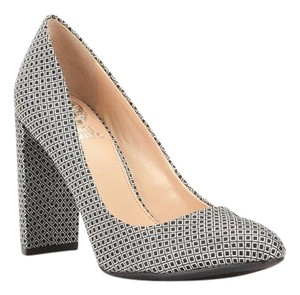 Vince Camuto Heel Chunky Heel Sparkle Silver Pumps