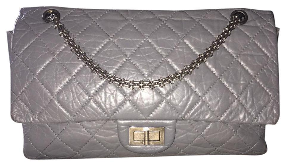 33c90dd9c05427 Chanel 2.55 Reissue Double Flap Reissue Distressed Aged Shw Bijoux Rare  Gray Calfskin Leather Shoulder Bag