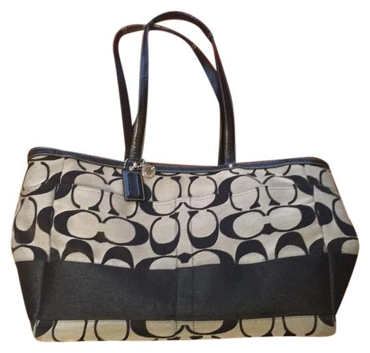 Preload https://item3.tradesy.com/images/coach-black-and-white-leather-fabric-satchel-20820747-0-1.jpg?width=440&height=440