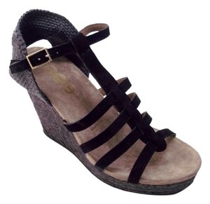 Yin Suede Silver Hardware Wedge Black and Charcoal Wedges