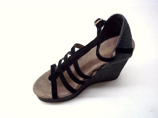 Yin Suede Silver Hardware Black and Charcoal Wedges Image 1