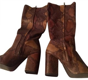 Free People Leather Knee High Snakeskin Wide Calf Brown snakeskin Boots