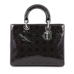 Dior Christiandior Patent Tote in Black
