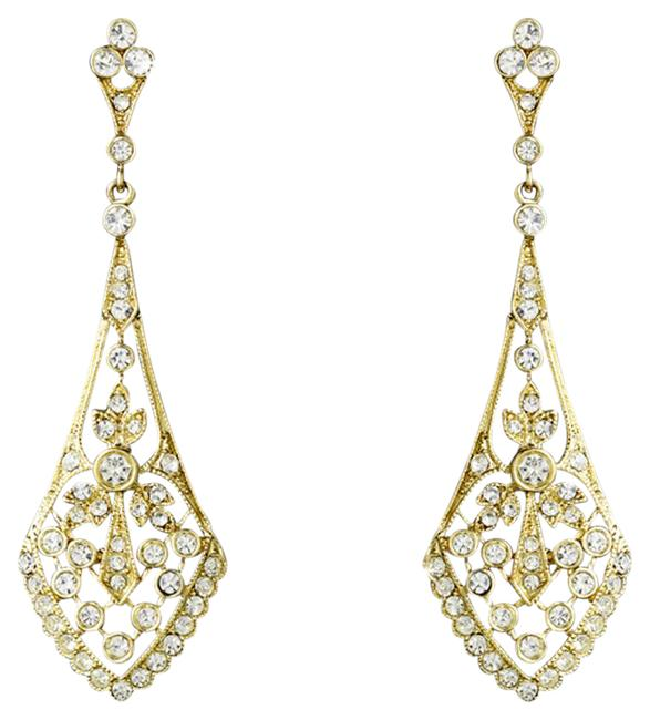 Item - Gold Clear Cz Crystal Vintage Earrings