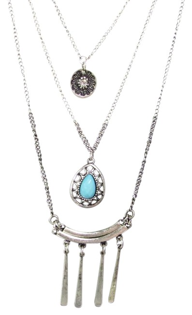 Silver Tone Graduated Layered Necklace Silver Tone Graduated Layered Necklace Image 1