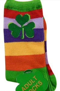 SHAMROCK Saint Patrick's Day Rainbow Pride Shamrocks Lucky Stripe Sock