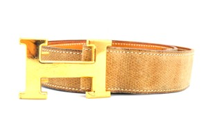 Herms #10684 32Mm gold H Size Adjustable Belt gold on light gold leather