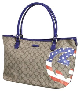 Gucci Handbag American Flag Tote in Beige/Ebony