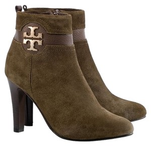 Tory Burch Suede Brown Alaina Gold Hardware Reva Logo Monogram Ankle Olive green Boots