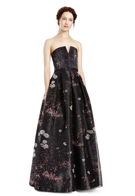 Item - Multi Color Kamila Printed Strapless Organza Gown-charcoal Long Formal Dress Size 8 (M)