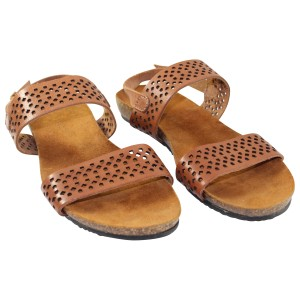 A. Giannetti Leather Laser Cut Pre-owned Brown Sandals
