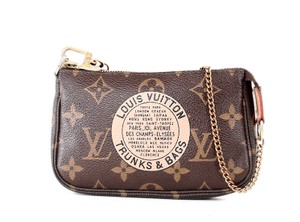 Louis Vuitton Mini Pochette Vuitton Pochette Trunks & Vuitton Limited Wristlet in Brown