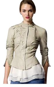 Tracy Reese Fitted Applique Leather Motorcycle Structured Beige Leather Jacket