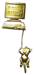 Vintage Super Cute Computer with Dangle Mouse Error Brooch