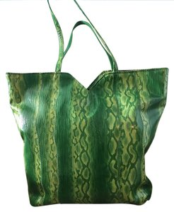 Sandra Roberts Spring Colorful Tote in Green Snakeskin