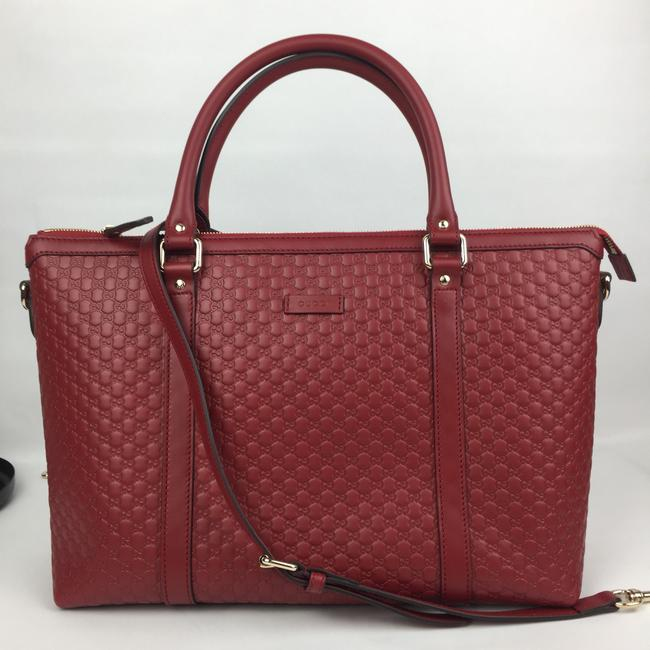 Gucci Leather with Strap Red Satchel Gucci Leather with Strap Red Satchel Image 1