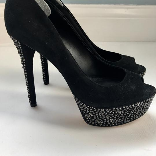 Brian Atwood Heels Suede Evening Formal black crystal Platforms
