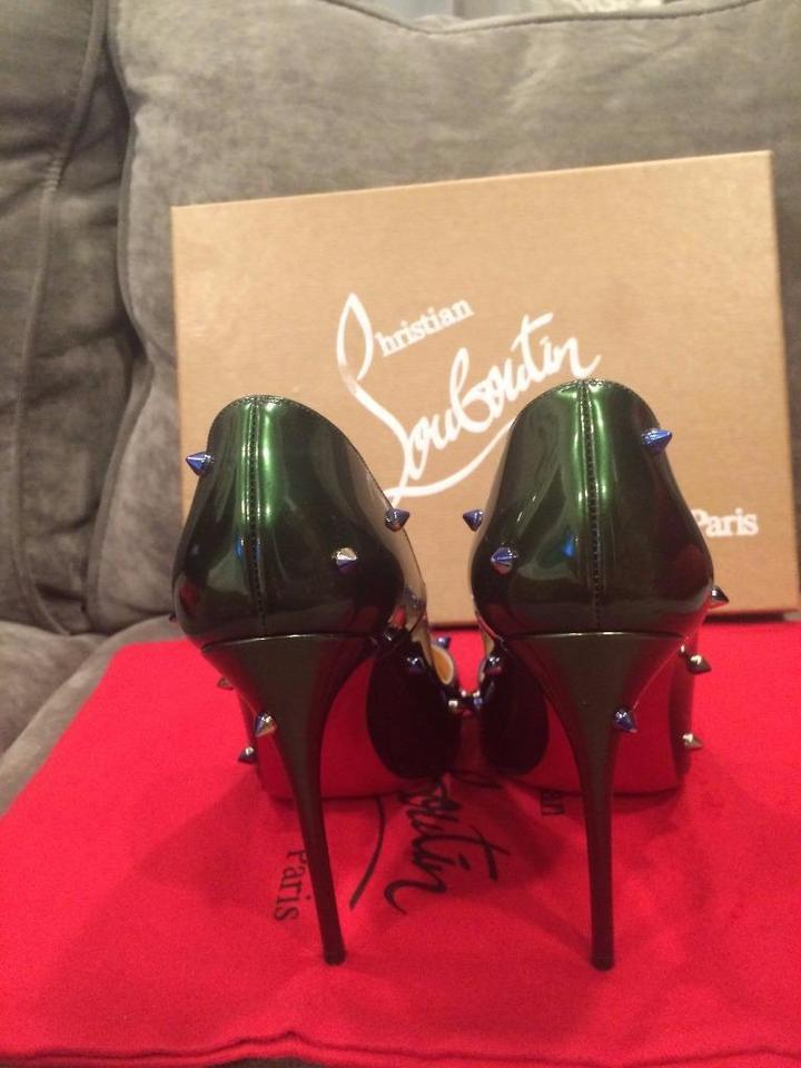 19fe6ae9c8bb Christian Louboutin Ombre Blue Green Degraspike 120 Patent Studded ...