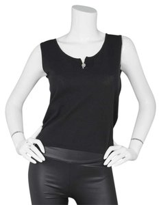 Chanel Shell Sleeveless Knit Top Black