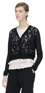 Rebecca Taylor Rolled Ribbed Neck Banded Hem Sheer Lace Front Solid Knit Hidden Snap Closure Cardigan