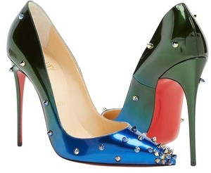 Christian Louboutin Heels Studded Spike Degraspike Ombre Blue Green Pumps