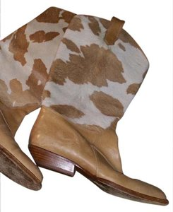 Joan & David Italian Leather Vintage Tan,white Boots