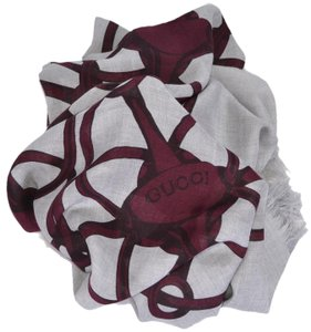 Gucci New Gucci Women's 367222 Grey Bordeaux Modal Wool Horsebit Logo Scarf