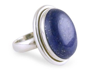 Lapis Lapis Lazuli Cocktail Ring in Sterling Silver Jewelry, 'Universe'