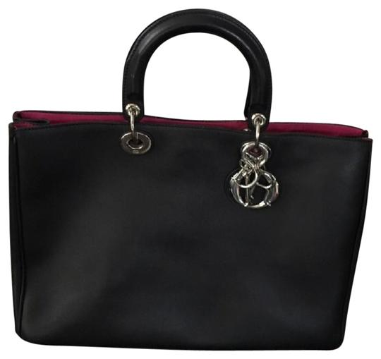 Preload https://item2.tradesy.com/images/dior-diorissimo-black-and-pink-leather-tote-20821346-0-1.jpg?width=440&height=440