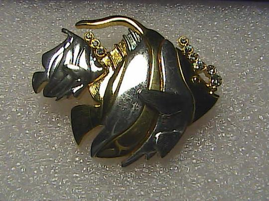 LCI Gold & Silver Tone Fish Brooch