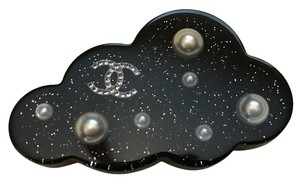 Chanel Chanel Black Resin Cloud Pearl CC Logo Brooch Pin
