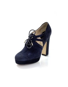Dolce&Gabbana D&g Dolce And Gabbana Platform Oxford Suede Navy Pumps