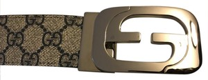 Gucci G Interlonking Buckle Canvas Gucci Reversible Belt