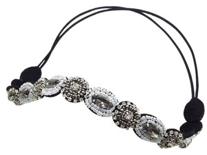 Elle Cross Elle Cross Black and White Crystal Beaded Stretch Headband One Size
