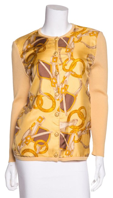 Preload https://item1.tradesy.com/images/celine-yellow-vintage-print-wool-and-silk-cardigan-size-0-xs-20821445-0-1.jpg?width=400&height=650