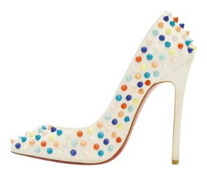 Christian Louboutin Leather Spiked Stiletto White Multi color Pumps