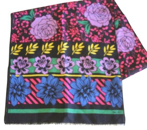 Albert Nipon Long Wool Floral Scarf Black Pink Purple Flowers 62