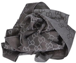 Gucci New Gucci Women's 165904 Grey and Brown Wool Silk GG Guccissima Scarf