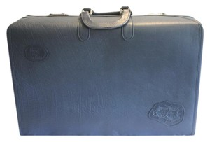Carlos Falchi Vintage Suit Case Blue Leather Luggage