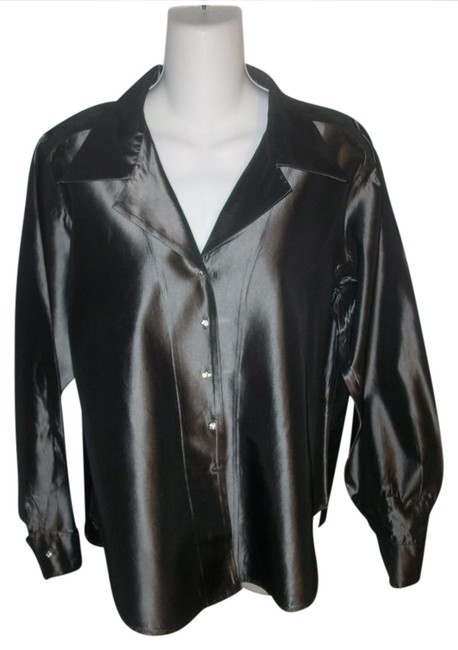 Preload https://item2.tradesy.com/images/alex-evenings-gray-vintage-80-s-formal-women-s-button-front-blouse-size-10-m-20821596-0-2.jpg?width=400&height=650